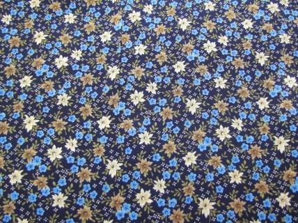 blue tan floral poly