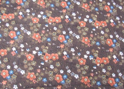 brown with orange flowers suede