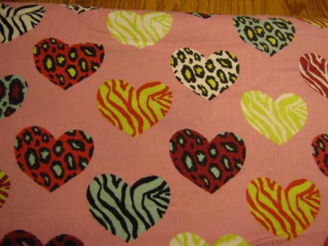 pink with hearts flannel